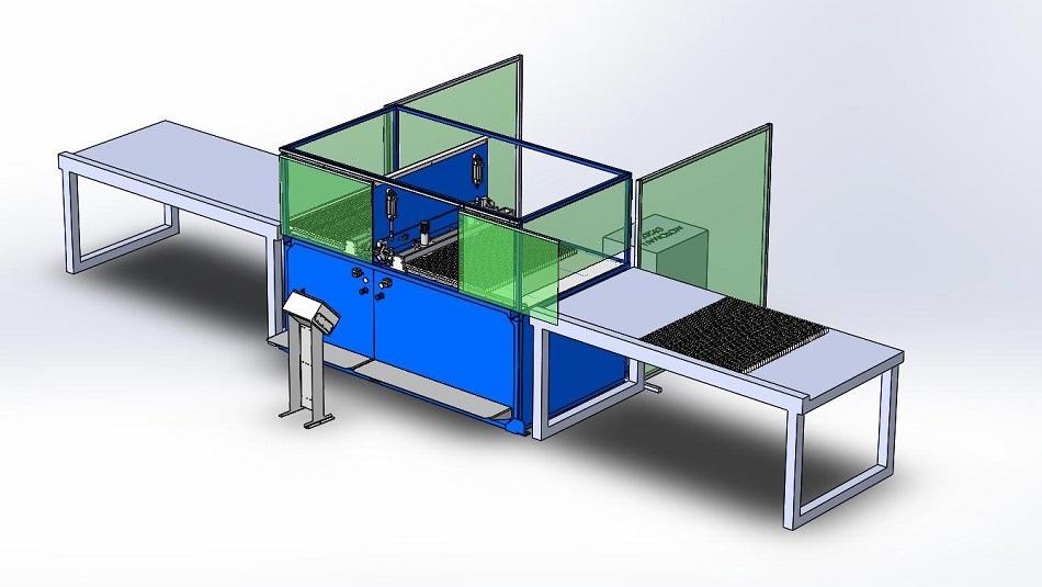 схема двухпозиционной ячейки для сборки и приварки полос обрамления к настилу